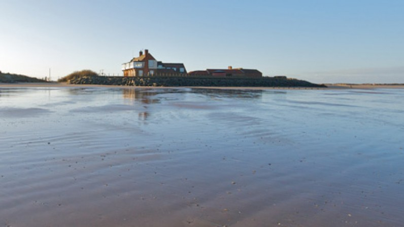Brancaster Beach Golf Club house.